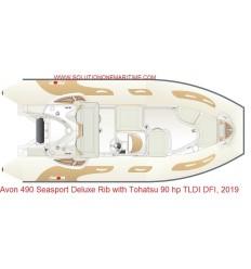 Avon 490 Seasport Deluxe Rib with Tohatsu 90 hp TLDI DFI, 2019 Model, Hypalon